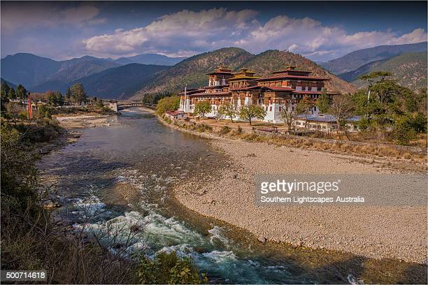 A view of the Panukha Dzong, in East central Bhutan.