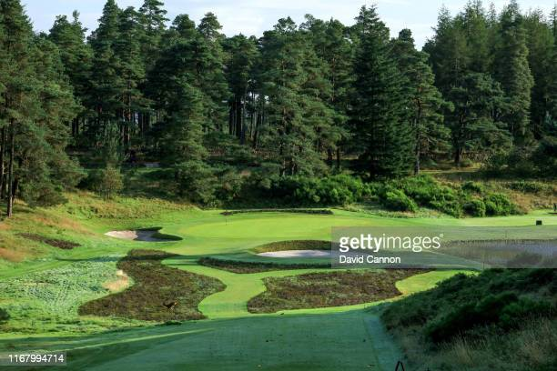 View of the par 3, 13th hole showing the recently planted heather areas between the tee and the green on the Queen's Course at Gleneagles on August...