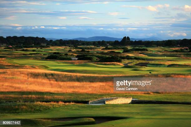 A view of the par 3 16th hole on the Championship Course from the Carnoustie Golf Hotel at Carnoustie Golf Links on July 6 2017 in Carnoustie Scotland