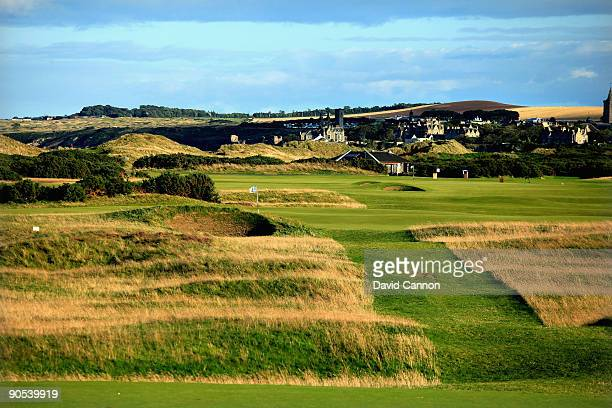View of the par 3, 8th hole, with the 9th hole behind on the Old Course at St Andrews on August 29, 2009 in St Andrews, Scotland