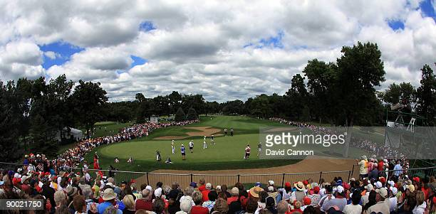 A view of the par 4 14th hole during the Saturday morning fourball matches at the 2009 Solheim Cup Matches at the Rich Harvest Farms Golf Club on...