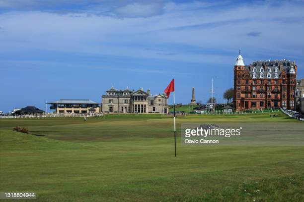View of the par 4, 17th green 'The Road Hole' with the par 4, 18th hole behind on The Old Course at St Andrews with the Royal and Ancient Golf Club...