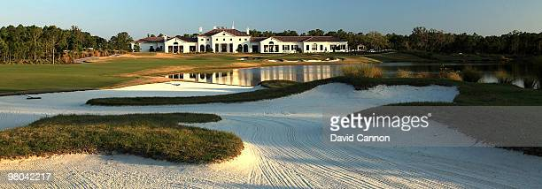 View of the par 4, 18th hole with the clubhouse behind the green at the Concession Golf Club on March 18, 2010 in Bradenton, Florida.