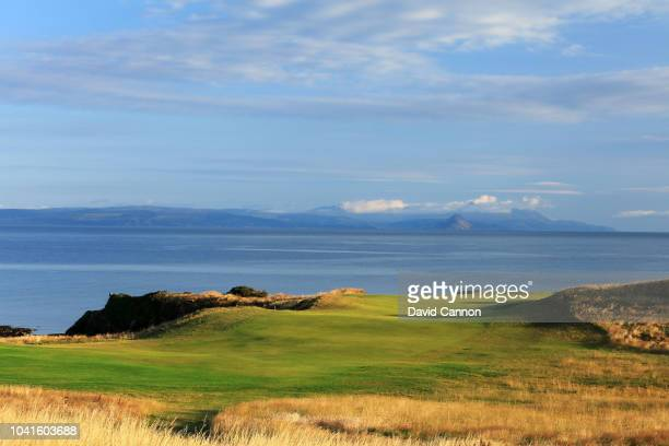 A view of the par 4 ninth hole on the King Robert the Bruce Course at the Trump Turnberry Resort on July 29 2018 in Turnberry Scotland