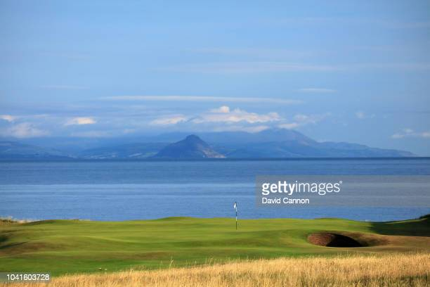 A view of the par 4 ninth hole with the Isle of Arran in the distance on the King Robert the Bruce Course at the Trump Turnberry Resort on July 29...