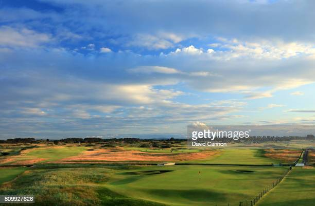 A view of the par 5 18th hole which plays as a par 4 in the Open Championship and the par 4 first hole on the Championship Course from the Carnoustie...