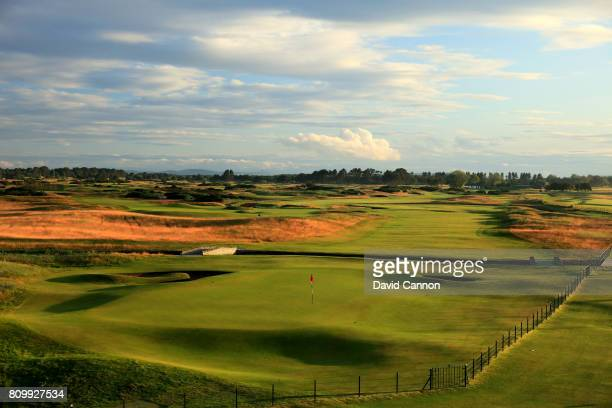 A view of the par 5 18th hole which plays as a par 4 in the Open Championship on the Championship Course from the Carnoustie Golf Hotel at Carnoustie...