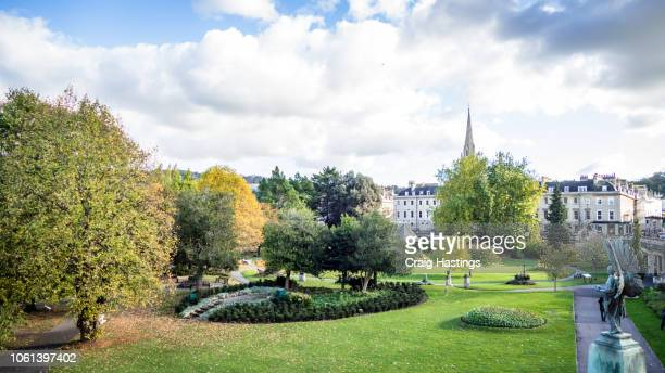 view of the parade garden in bath england - bath england stock pictures, royalty-free photos & images