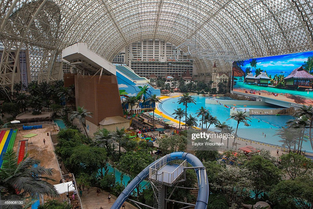 A view of the Paradise Island Water Park on September 20, 2014 in Chengdu, China. The Paradise Island Water Park is located inside of the New Century Global Center, the world's largest building measured by floor space, boasting 18,000,000 square feet of floor space.