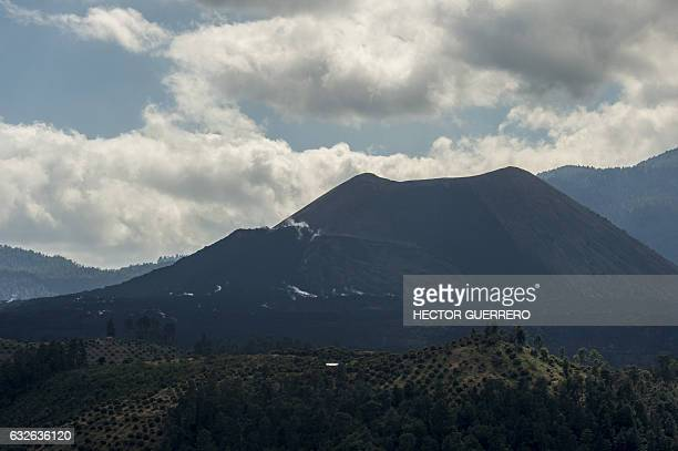 View of the Paricutin volcano in San Juan Nuevo in Angahuan community Michoacan State Mexico on January 24 2017 The town of San Juan Parangaricutiru...