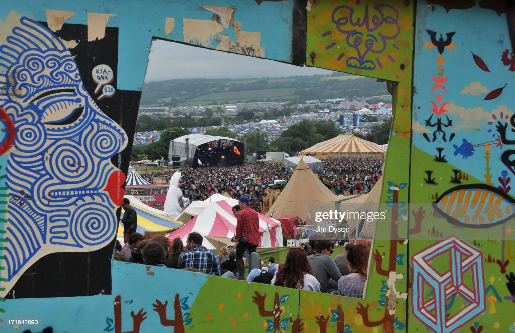 A view of the Park stage through a window during day 2 of the 2013 Glastonbury Festival at Worthy Farm on June 28, 2013 in Glastonbury, England.