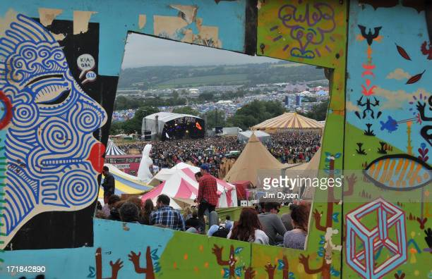 A view of the Park stage through a window during day 2 of the 2013 Glastonbury Festival at Worthy Farm on June 28 2013 in Glastonbury England