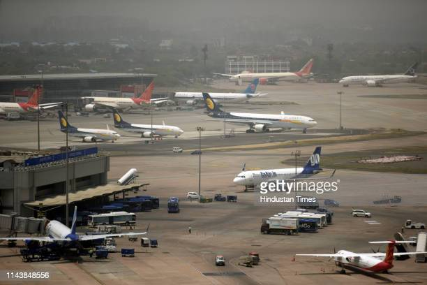 A view of the parked planes inside the parking bay at Indira Gandhi International Airport on May 8 2019 in New Delhi India
