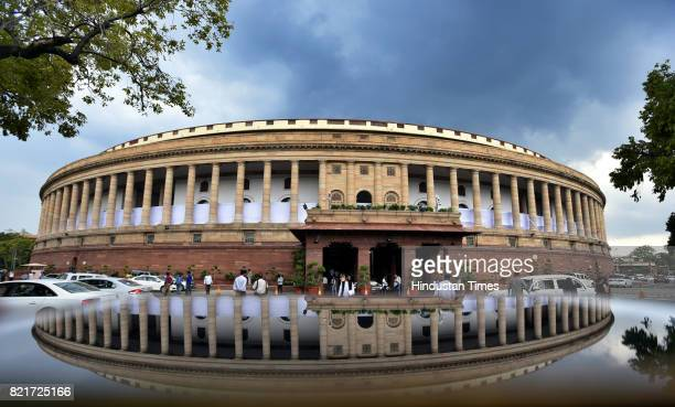 A view of the Parliament building during the Monsoon Session on July 24 2017 in New Delhi India