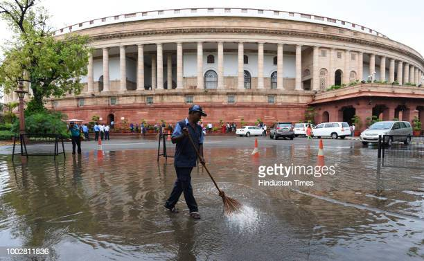 A view of the Parliament during the third day of the Monsoon session of Parliament on July 20 2018 in New Delhi India A debate is under way on the...