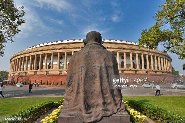 A view of the Parliament House on the first day of the winter session of Parliament on November 18 2019 in New Delhi India The 250th Rajya Sabha...