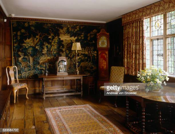 View of the Parlour at Packwood House, Warwickshire, showing the 17th century oak table, Flemish ver