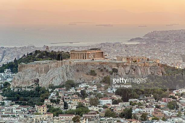 View of the Parthenon and Acropolis Hill in Athens which is the capital of Greece