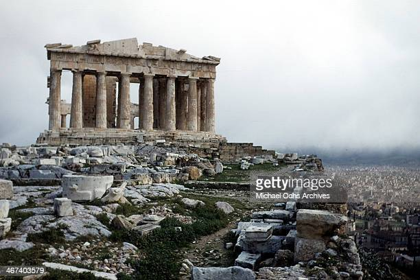 A view of the Parthenon at the Acropolis in AthensGreece