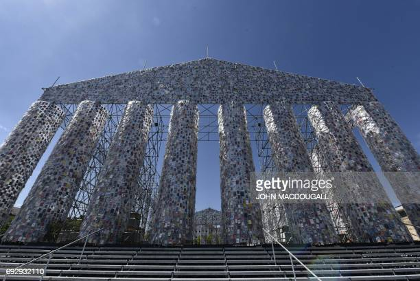 View of the 'Parthenon of Books' by Argentinian artist Marta Minujin at the Documenta 14 art exhibition in Kassel on June 2 2017 The Parthenon of...