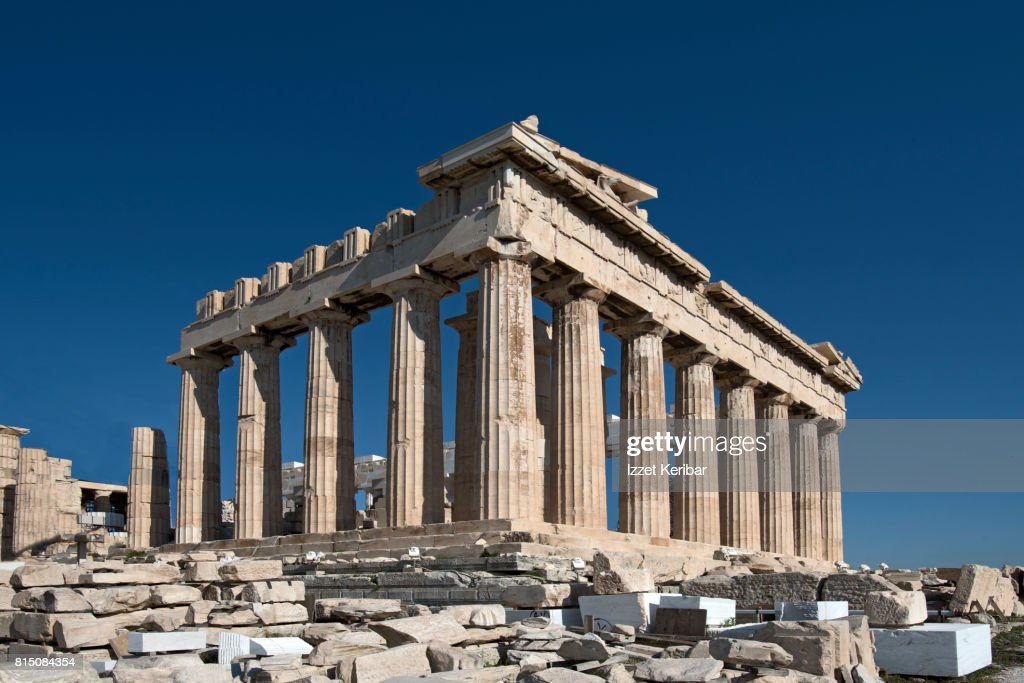 View of the Parthenon temple , early morning, Acropolis, Athens, Greece : Stock Photo