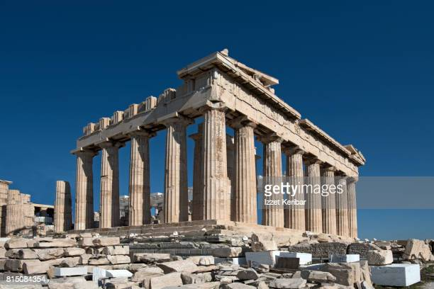 view of the parthenon temple , early morning, acropolis, athens, greece - ancient greece photos stock pictures, royalty-free photos & images