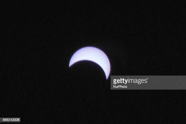 A view of the partial solar eclipse captured from Donggala Palu Central Sulawesi Indonesia on March 9 2016 The total eclipse of March 9 2016 starts...