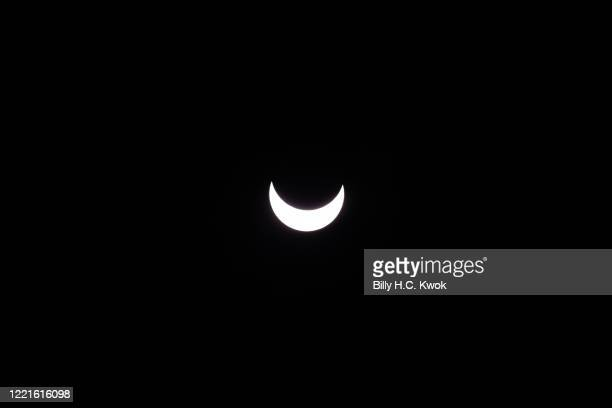 View of the partial solar eclipse from Hong Kong on June 21, 2020 in Hong Kong, China.