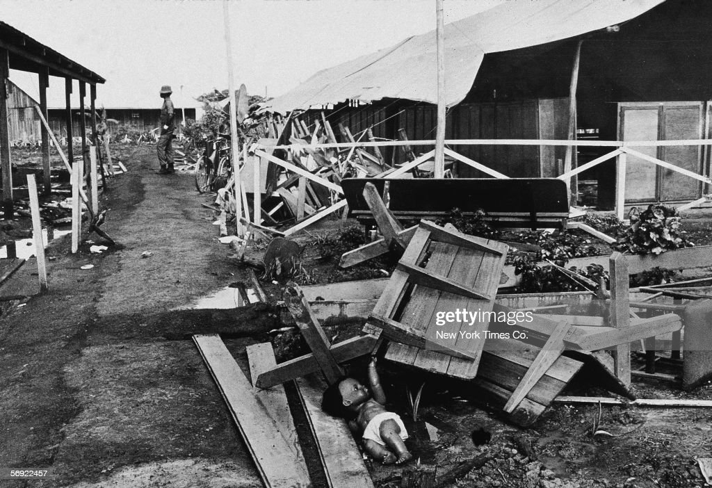 View of the partially collapsed main pavillion in the Jonestown compound, Guyana, November 28, 1978. The site was host to a mass suicide led by the Reverend Jim Jones of more than 900 of his Peoples Temple followers.