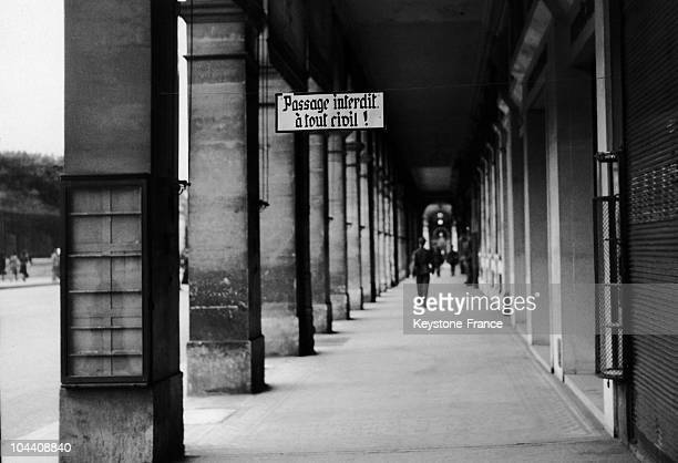 A view of the passage under the arches of the Rue de Rivoli which is next to the Hotel Intercontinental where the Gestapo headquarters is located...