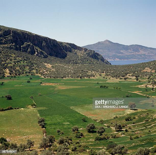 View of the Patara plain with the Mediterranean Sea in the background Licia Antalya Province Turchia