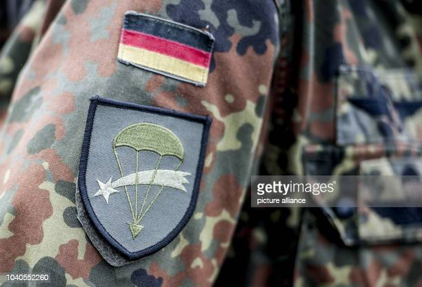 View of the patch on the jacket of a German paratrooper at the German army military training area Oberlausitz in Weisskeissel Germany 30 June 2013...