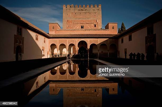 View of the Patio de Arrayanes in Alhambra in Granada during the '55 Defence Initiative' meeting at the Alhambra in Granada on December 11 2014 AFP...