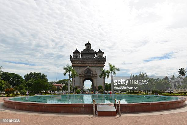 A view of the Patuxai Victory Gate or Gate of Triumph in Vientiane Laos on September 3 2016 Vientiane capital of Laos will host the 28th 29th ASEAN...
