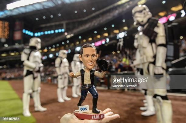 A view of the Paul Solo bobblehead as Stormtroopers stand on the field prior to the MLB game between the Miami Marlins and Arizona Diamondbacks at...