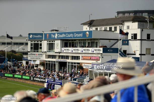 A view of the pavilion during day three of the Specsavers County Championship Division One match between Essex and Yorkshire at the Cloudfm County...