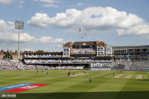 A view of the pavilion in the afternoon sunshine during play in the ICC Champions trophy cricket match between England and Bangladesh at The Oval in...
