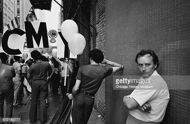 View of the people at the Puerto Rican Day Parade Chicago Illinois June 1980