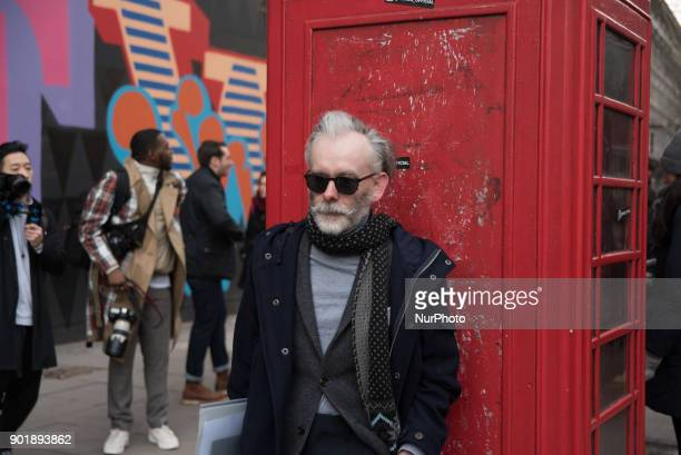 View of the people gathering outside the BFC Showspace at the Strand during the London Fashion Week Men's London on January 6 2018