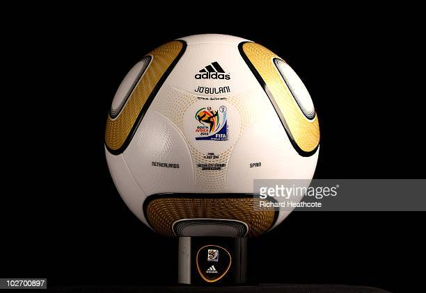 A view of the personalisation of the adidas Jo'bulani official match ball for the 2010 FIFA World Cup Final between the Netherlands and Spain is...