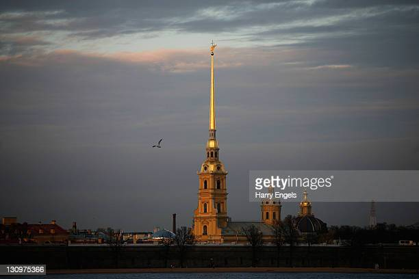 A view of the Peter and Paul Fortress across the river Neva on October 30 2011 in Saint Petersburg Russia St Petersburg Russia's second largest city...