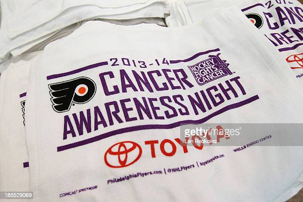 A view of the Philadelphia Flyers rally towels on Hockey Fights Cancer Night prior to a game against the Vancouver Canucks on October 15 2013 at the...