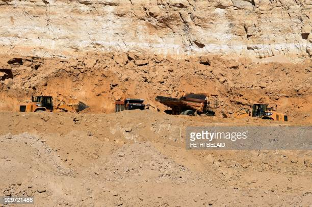 A view of the phosphate production at the Mdhila mine south of Gafsa one of the main mining sites in central Tunisia after workers restarted...