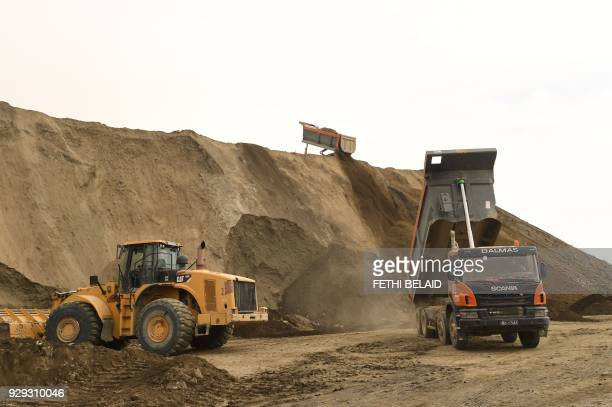 A view of the phosphate production plant in Kef Eddour in the Metlaoui mining region one of the main mining sites in central Tunisia after workers...