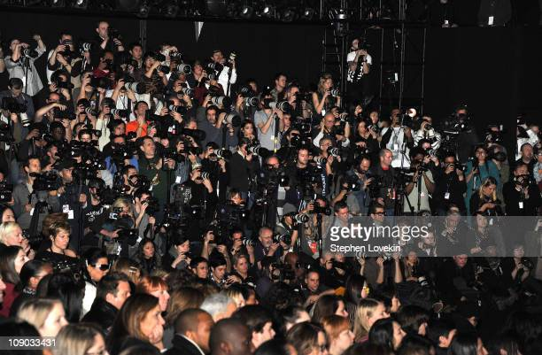 A view of the photographers pit at the Vivienne Tam Fall 2011 fashion show during MercedesBenz Fashion Week at The Theatre at Lincoln Center on...