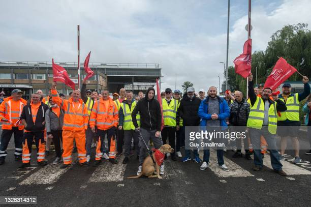 View of the picket line at the main refuse depot as members of the UNITE Trade union working as refuse workers strike against their employers for...