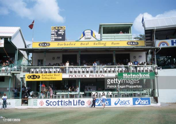 View of the Pickwick Pavilion with manual scoreboard on the roof showing the overnight score at the start of day three of the 5th Test match between...