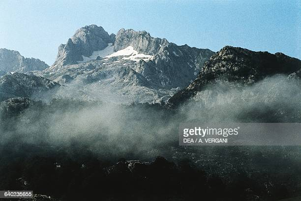 View of the Picos de Europa Cantabrian mountains Spain