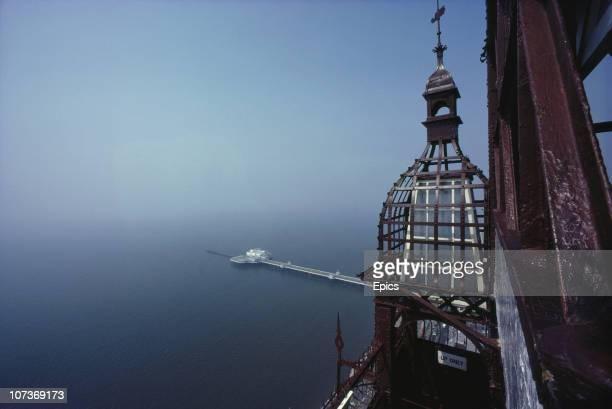 A view of the pier and coast from Blackpool Tower which offers a great vantage point to survey the seaside town Blackpool Lancashire August 1983