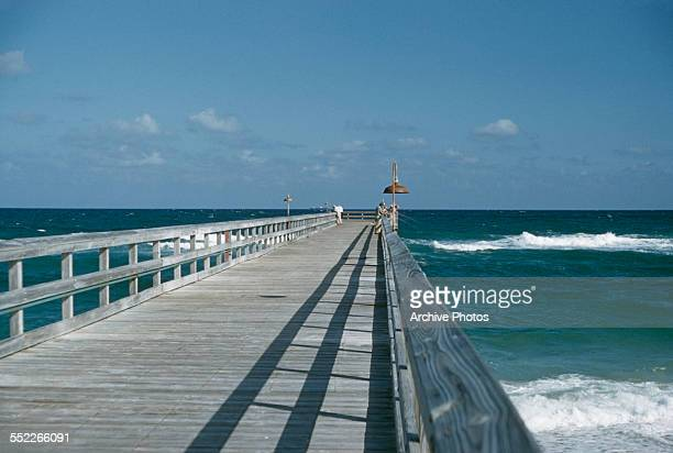 View of the pier at Juno Beach, Florida, USA, December 1958.